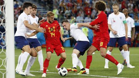 Pertandingan antara Timnas Inggris vs Belgia. - INDOSPORT