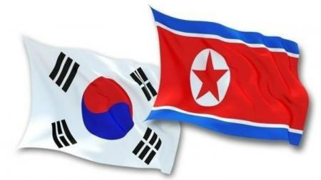 Ilustrasi bendera Korea Selatan dan Korea Utara. - INDOSPORT
