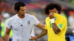 Indosport - Marcelo Cedera di laga Brasil vs Serbia.