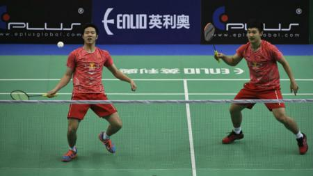 Ganda putra China He Jiting/Tan Qiang gagal sumbangkan poin kala China berhadapan dengan Thailand di pertandingan juara Grup A Piala Sudirman 2021 - INDOSPORT