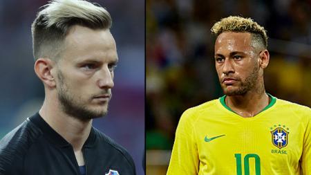 Playmaker Timnas Kroasia, Ivan Rakitic (kiri) dan Neymar Jr, striker Timnas Brasil. - INDOSPORT