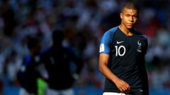 Indosport - Kylian Mbappe dalam laga Argentina vs Prancis di Piala Dunia 2018.