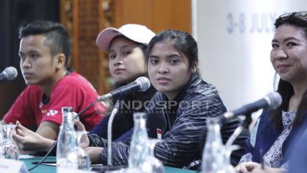 Anthony Sinisuka Ginting, ganda putri Rizki Amelia Pradipta, tunggal putri Gregoria Mariska, Kepala Bidang Prestasi PBSI Susi Susanti.