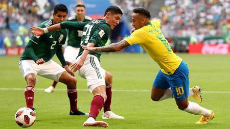 Situasi pertandingan Brasil vs Meksiko di Piala Dunia 2018. - INDOSPORT