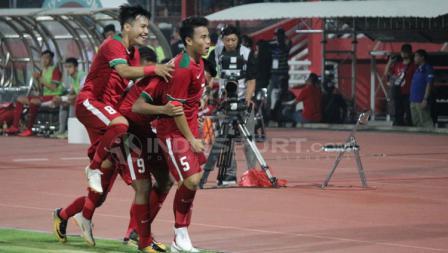 Aksi selebrasi pemain timnas Indonesia U-19.