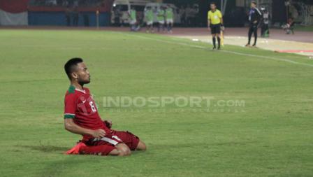 Saddil Ramdani melakukan selebrasi usai mencetak gol pada menti ke-71.