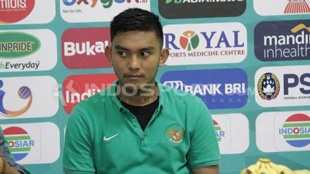 Rafli Mursalim saat konferensi pers usai laga melawan Singapura U-19. - INDOSPORT