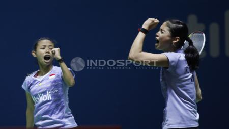 Ekspresi kegembiraan ganda putri Indonesia, Della Destria Haris/Rizki Amelia Pradipta. - INDOSPORT