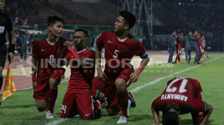 Selebrasi para pemain Indonesia setelah menjebol gawang Filipina. - INDOSPORT