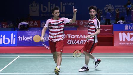 Ekspresi kegembiraan Kevin Sanjaya/Marcus Fernaldi saat mencetak poin pada babak perempat final Blibli Indonesia Open 2018 di Istora Senayan, Jumat (06/07/18).