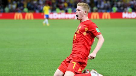 Selebrasi De Bruyne setelah membobol gawang Brasil di perempatfinal Piala Dunia 2018. - INDOSPORT