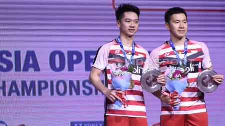 Marcus Fernaldi Gideon/Kevin Sanjaya Sukamuljo menjadi juara Indonesia Open 2018. - INDOSPORT