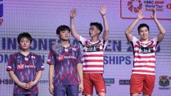 Indosport - Marcus Fernaldi Gideon/Kevin Sanjaya Sukamuljo juara Indonesia Open 2018 dengan mengalahkan pasangan Jepang.