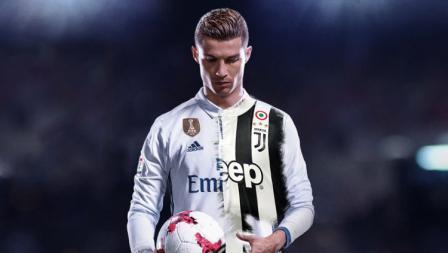 Ilustrasi Cristiano Ronaldo dengan mengenakan jersey Real Madrid dan Juventus.