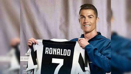Ilustrasi Cristiano Ronaldo resmi diperkenalkan Juventus.