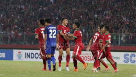Aksi selebrasi pemain Timnas Indonesia usai Rifad Marasabessy mencetak gol.