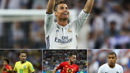 Ronaldo-Neymar-Hazard-Mbappe. - INDOSPORT