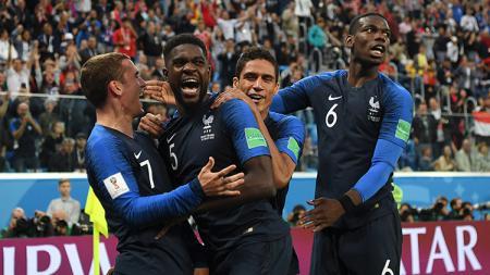 Samuel Umtiti saat merayakan gol ke gawang Belgia. - INDOSPORT