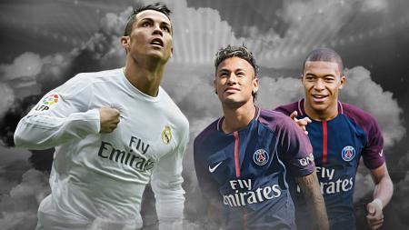 Cristiano Ronaldo, Kylian Mbappe dan Neymar - INDOSPORT