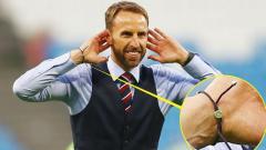 Indosport - Gelang Gareth Southgate selama Piala Dunia 2018.