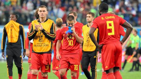 Ekspresi para pemain Timnas Belgia usai dikalahkan oleh Timnas Prancis.