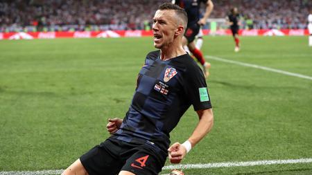 Selebrasi pemain Kroasia, Ivan Perisic, saat melawan Inggris di Piala Dunia 2018. - INDOSPORT