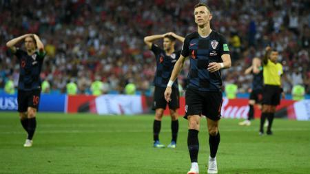 Gelandang serang Timnas Kroasia, Ivan Perisic saat menghadapi Inggris. - INDOSPORT