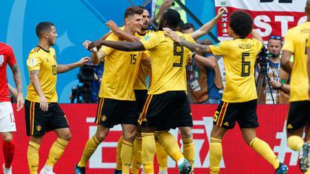 Pemain Belgia merayakan gol yang dicipatakan oleh Thomas Meunier. - INDOSPORT