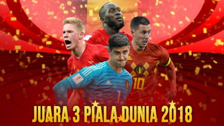 Timnas Belgia juara ke tiga Piala Dunia 2018. - INDOSPORT
