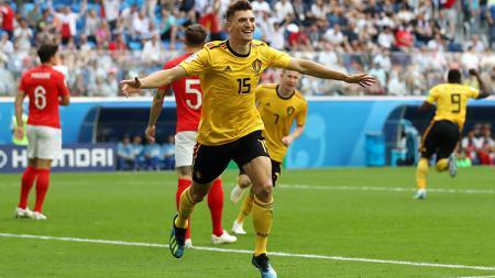 Thomas Meunier menjadi pencetak gol pembuka bagi Belgia di laga perebutan juara ketiga Piala Dunia 2018 melawan Inggris. - INDOSPORT