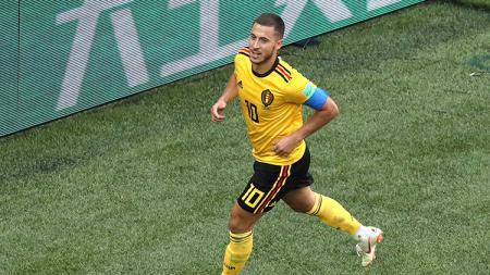 Eden Hazard berselebrasi usai memperbesar keunggulan Belgia atas Inggris di babak perebutan juara ketiga Piala Dunia 2018. - INDOSPORT