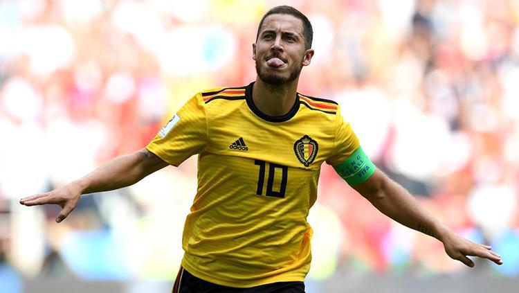 Kapten Belgia Eden Hazard sukese mencetak gol ke gawang Inggris di Piala Dunia 2018. Copyright: INDOSPORT.com