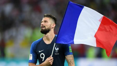 Olivier Giroud selebrasi kemenangan Prancis di Piala Dunia 2018. - INDOSPORT
