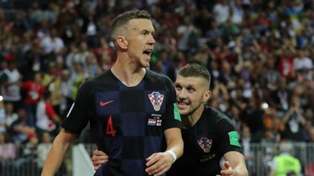 Dari kiri Ivan Perisic dan Ante Rebic, dua pesepakbola Kroasia yang sedang diincar Manchester United - INDOSPORT