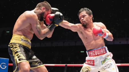 Lucas Matthysse (kiri) saat melawan Manny Pacquiao - INDOSPORT