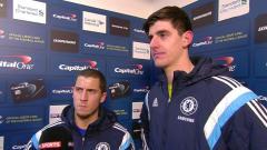 Indosport - Eden Hazard dan Thibaut Courtois saat masih bersama-sama di Chelsea.