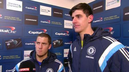 Eden Hazard dan Thibaut Courtois saat masih bersama-sama di Chelsea. - INDOSPORT