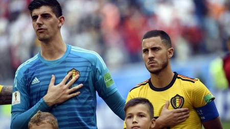Thibaut Courtois dan Eden Hazard di timnas Belgia. - INDOSPORT
