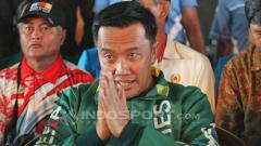 Indosport - Menpora Imam Nahrawi saat menghadiri acara pelantikan DPD KNPI. Sabtu (21/7/18).