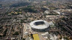 Indosport - Stadion baru Tottenham Hotspur tampak dari udara.