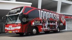 Indosport - Wajah baru Bus Timnas Indonesia, hasil kerja sama dengan Supersoccer.