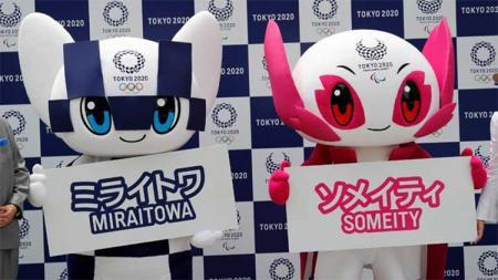 Miraitowa dan Someity, Maskot Olimpiade dan Paralimpik Tokyo 2020 di Tokyo Jepang (22/07/18). - INDOSPORT