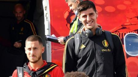 Thibaut Courtois saat bersama dengan Timnas Belgia. - INDOSPORT