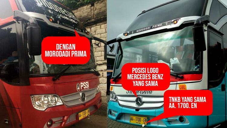 Bus baru Timnas Indonesia mirip dengan bus antar kota pulau jawa. Copyright: INDOSPORT