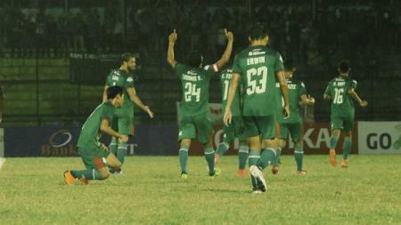 Perayaan gol saat laga PSMS Medan vs PSM Makassar di Liga 1 2018. - INDOSPORT