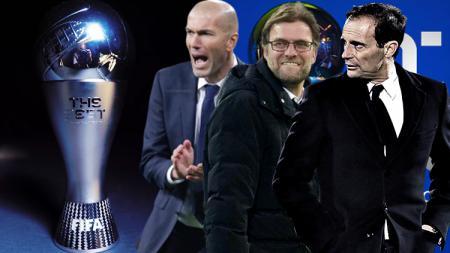 Massimiliano Allegri, Jurgen Klopp dan Zinedine Zidane masuk dalam nominasi pelatih terbaik FIFA 2018. - INDOSPORT