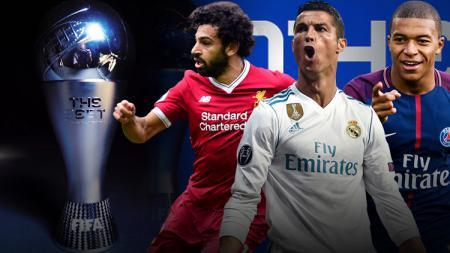 Muhammed Salah, Cristiano Ronaldo, dan Kylian Mbappe masuk dalam daftar pemain terbaik FIFA 2018. - INDOSPORT