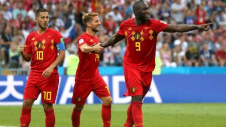 Eden Hazard menyindir kontribusi Romelu Lukaku, yang tengah merayakan 10 tahun penampilannya bersama Timnas Belgia. - INDOSPORT