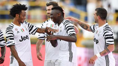 Selebrasi Moise Kean bersama rekan-rekannya di Juventus. - INDOSPORT