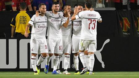 Selebrasi para pemain AC Milan. - INDOSPORT